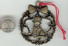 Vintage Antique Brass Dog Christmas Wreath Bow 69mm. Pendant Ornament S496