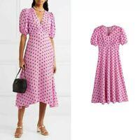 NEW womens pink polka dot a-line v neck midi dress summer 2020 uk sizes 8 10 12
