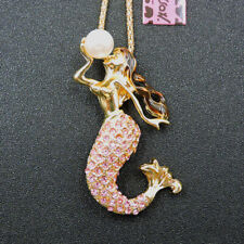 New Pink Crystal Enamel Pearl Mermaid Pendant Betsey Johnson Sweater Necklace