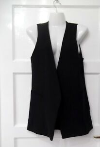 Longer length Ladies waistcoat Size 10 New Look Black Lined Good con Xmas RU1