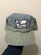 Vintage 50s 60s Ann Arbor Railroad Hickory Stripe Denim Conductors Hat Cap 7 5/8