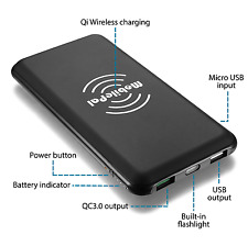 MobilePal 10000 mAh Qi Wireless Charging Power Bank with QC 3.0 Input/Output