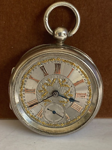 Vintage Silver Pocket Watch Silver & Gold Dial working