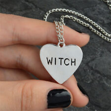Halloween Heart-Shaped Witch Pendant Necklace Wiccan Alloy Jewelry Gift Unisex