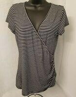 Cache Womens Black White Silver Striped Shirt Top Blouse Size L