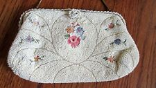 Vintage Walborg White Beaded Floral Purse with Coin Bag & Original Mirror France
