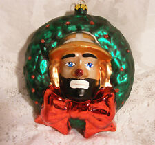 CLOWN ORNAMENT, Emmit Kelly Collectible European Style Glass Christmas Ornament
