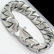 Men/Boy Classic Cuban curb Chain Bracelet silver stainless steel 12mm 8.66''
