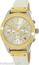 NEW-DKNY METALLIC WHITE LEATHER+2,TWO TONE GOLD,SILVER DIAL+CHRONO WATCH-NY8610