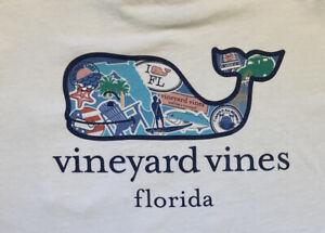 Vineyard Vines Boy's Florida Whale Short Sleeve Pocket Shirt White Size XL (18)