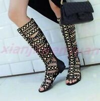 New Womens Gladiator Black Sandals Rivet Studs Leather Low Heel Knee High Boot