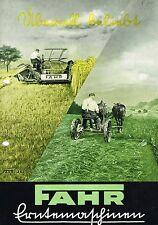 Fahr Maschinen für die Heuernte / Getreideernte, orig. Prospekt 40er Jahre