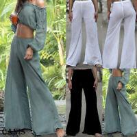 Plus Size Women Casual Linen Pants Loose Baggy Wide Leg Yoga Long Trousers