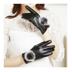 Lady Leather Winter Glove Touch Point Black Touchscreen High Quality Fleece