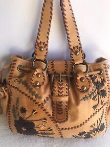 Isabella Fiore XL Flower Hippie Boho Leather Shoulder Handbag