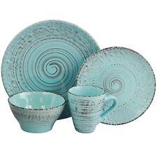 Dinnerware Set Turquoise Blue Stoneware Distressed Dish Dinner Plates Bowls GIFT