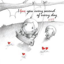 """""""je vous aime chaque seconde de chaque jour"""" CUPIDS Anniv/CARTE D'ANNIVERSAIRE lui Swing"""