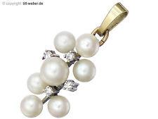 """Anhänger """"Perlen und 8/8 Diamanten"""" 585er Gold Zweifarbig"""