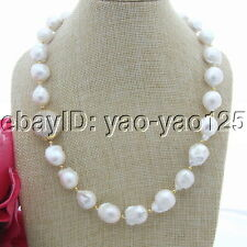 Natural 18MM White Rebron Keshi Baroque  Pearl Necklace CZ Connector