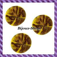 4 Perles Bois Coco Motif Croix Jaune 35mm
