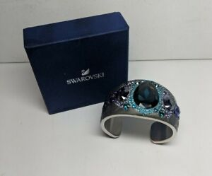 Signed Swarovski Bracelet Pony Cuff 1110336 Stainless Steel Teal Amethyst In Box