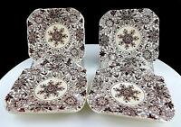 "MASON'S ENGLAND 4 PIECE IRONSTONE BROWN BOW BELLS SQUARE 3 1/2"" ASHTRAYS 1940-50"
