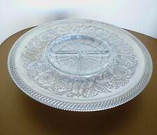 VTG Wilson Specialties Metal Lazy Susan Pedestal Platter w Glass Divided Dish