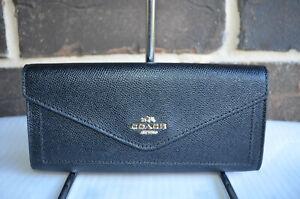NWT $150 Coach Crossgrain Leather Slim Envelope-Style Black Wallet