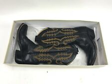 ROD PATRICK Volcano Black Full Quill Ostrich & Goatskin Cowboy Boots Size 8 AA