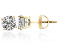 0.60 ct F VS2 ROUND CUT DIAMOND STUD EARRINGS 14K YELLOW GOLD SCREW BACK POSTS