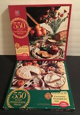 2 VINTAGE MB BETTY CROCKER 550 PIECE PUZZLES PUMPKIN PIE ROASTED PORK LOIN NIB
