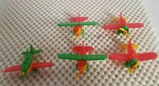 5 Small Vintage Plastic Toy Airplanes  West Germany 2-piper 2-curtis 1-klemm
