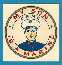 "VINTAGE ORIGINAL 1966 MARINES SOUVENIR ""MY SON IS A MARINE"" USMC WATER DECAL ART"
