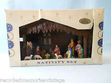 "vintage shiny brite nativity scene plastic 9"" box"