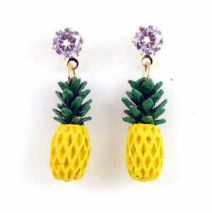 New Betsey Johnson Fashion Jewelry whie Crystal yellow Rhinestone pineapple