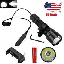 5000Lumen T6 LED Hunting Tactical Flashlight Lamp+Pressure Switch + 18650+ Mount