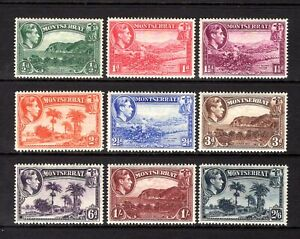 MONTSERRAT KGV1 1938 sg101a-109a P14 MOUNTED MINT SHORT SET TO 2/6 CAT £43.40