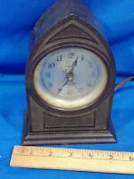 "Antique Bakelite Diamond Electric Clock Mini Cathedral Art Deco 7"" VTG Rare"