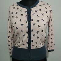 Gok For TU Cardigan Pale Pink with black bow pattern Size 14 Ladies cotton mix
