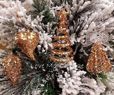 Set of 4 Christmas Tree Decorations Sparkling ROSE GOLD GLITTER Hanging Baubles