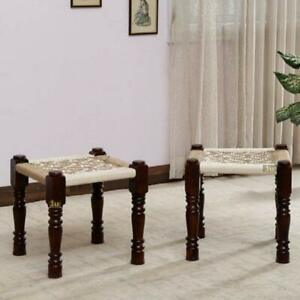 Wooden Handmade Rajasthani Woven Stools Pidha End Side Table Charpai Set of 2