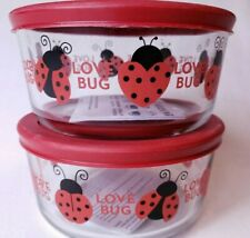 Anchor Hocking Love Bug Storage Container Set of 2 Glass with Lid - 4 Cups 946ml