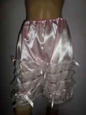 BO PEEP BLOOMERS PINK  SATIN WHITE  FRILLY TRIM   30-46W KNEE LENGTH