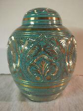 "Beautiful Aqua & Gold Engraved Brass Dome Urn~Small 5.5""~~43 lbs."