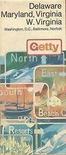 1972 GETTY OIL Road Map DELAWARE MARYLAND VIRGINIA Washington Baltimore Norfolk