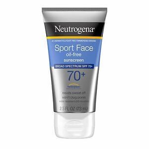 Neutrogena Sport Face Oil-Free Lotion Sunscreen SPF 70+  2.5 OZ (Pack Of 2 Tubes