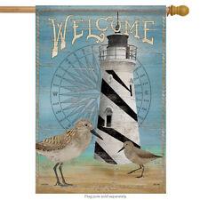 "Sandpiper Lighthouse Welcome Summer House Flag Beach Nautical Sand 28""x40"""