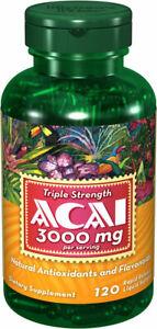 Puritan's Pride Triple Strength Acai 3000 mg 120 Softgels Natural Antioxidants