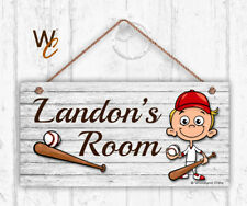 Baseball Sign, Personalized Sign, Kid's Name, Kids Door Sign, Sports 5x10 Sign