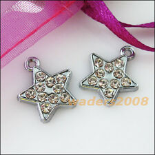 4 New Star Charms Crystal Dull Silver Pendants Craft DIY 15x17mm